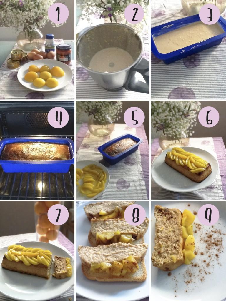 Nueva receta del Club del tupper: Pastel salado de melocotones en almíbar.