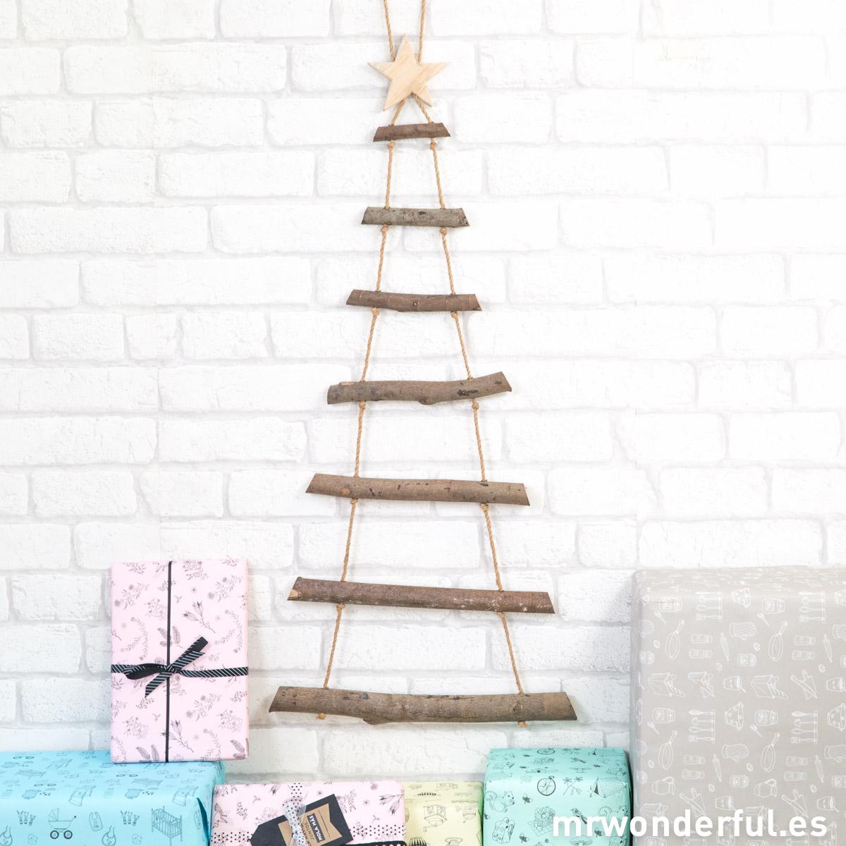 Mr.Wonderful Árbol navidad de madera para colgar