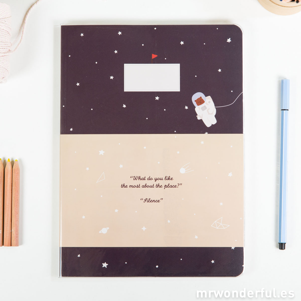 Mr.Wonderful libreta grande pautada estampado space negro