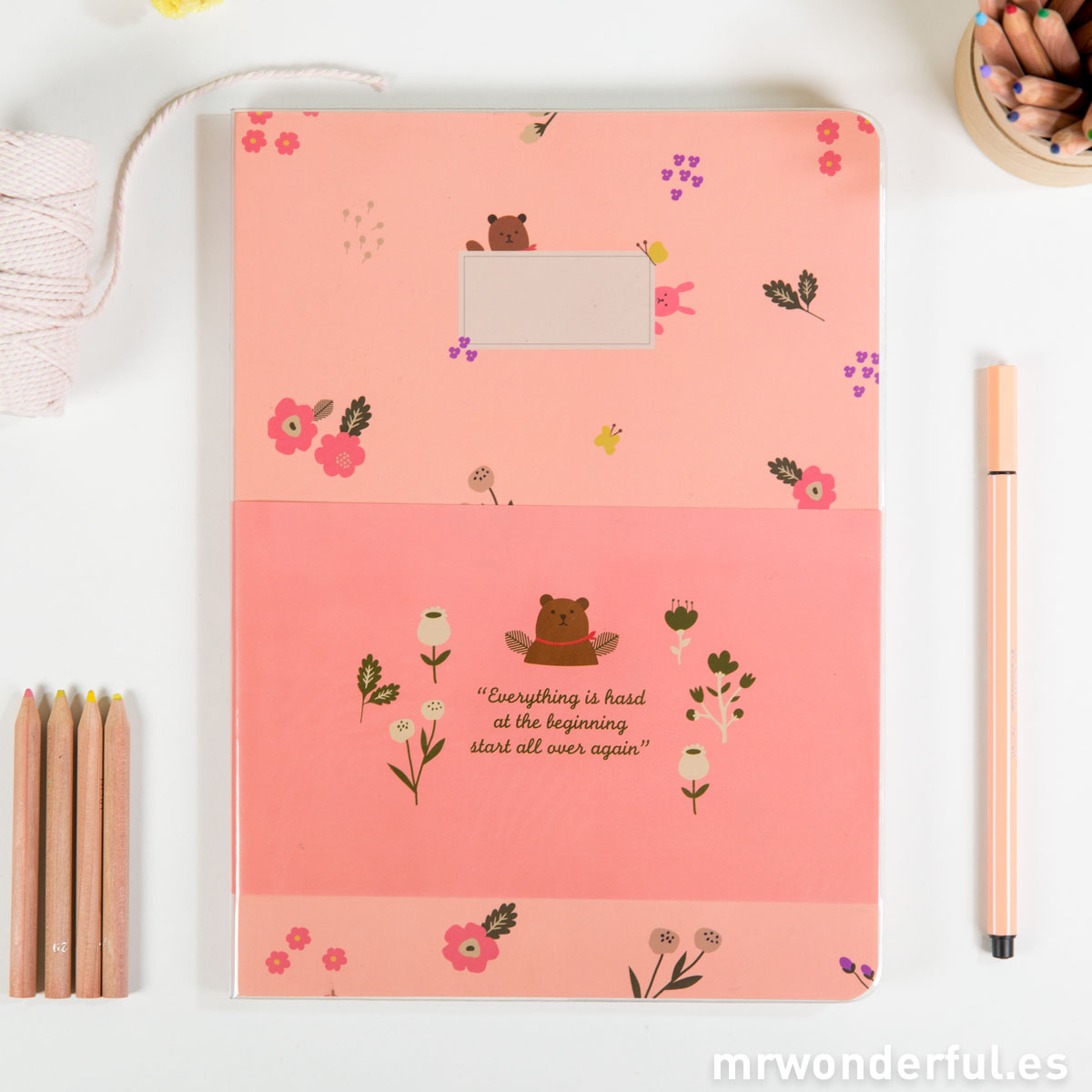 Mr.Wonderful Libreta grande pautada rosa