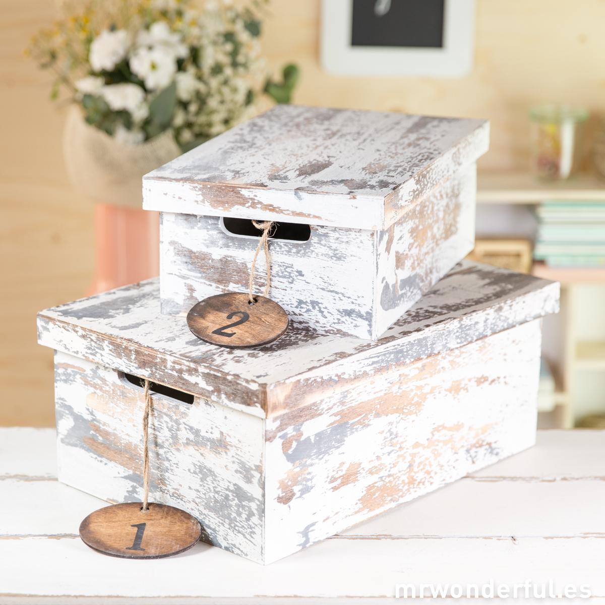Caja madera blanca decapada pequeña Mr.Wonderful