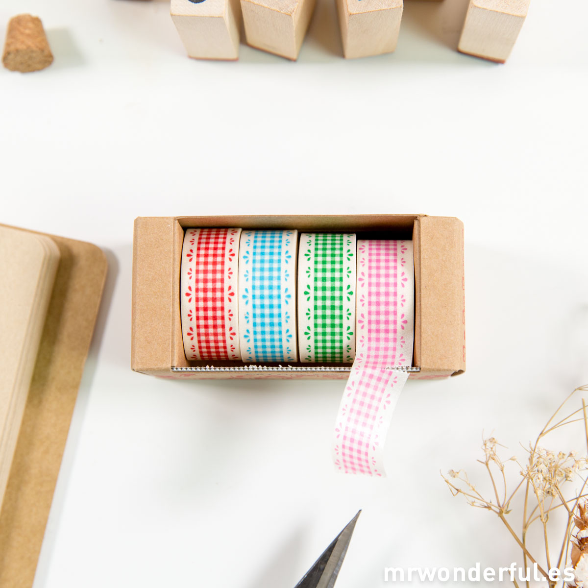 Mr.Wonderful washi tapes de cuadros con dispensador