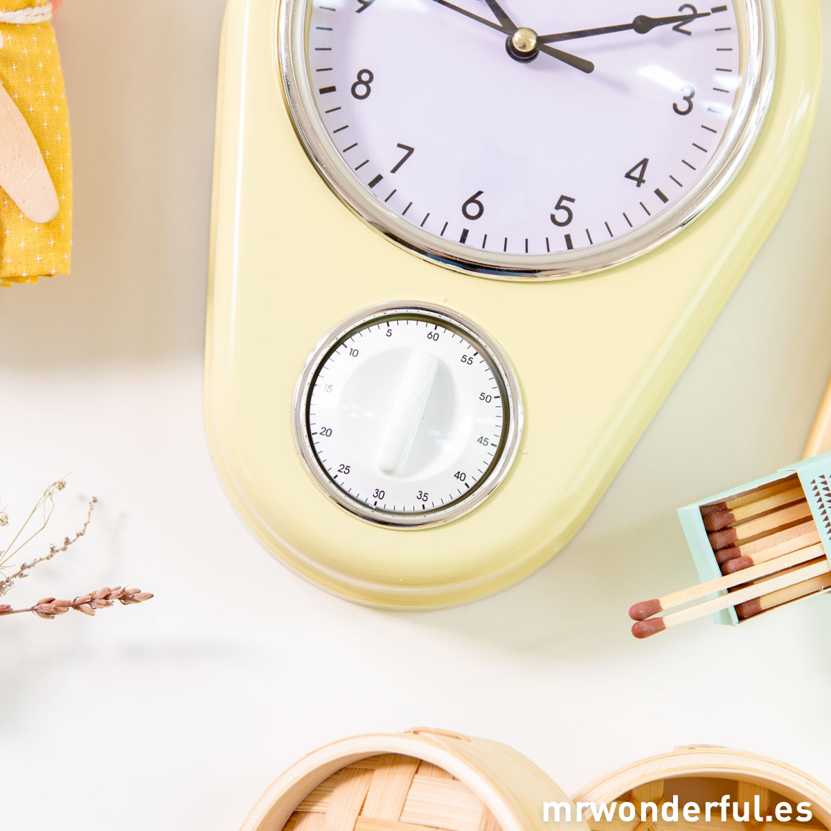 Mr.Wonderful reloj de cocina amarillo con temporizador