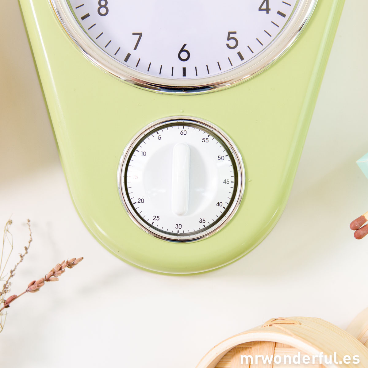 Mr.Wonderful reloj de cocina verde con temporizador