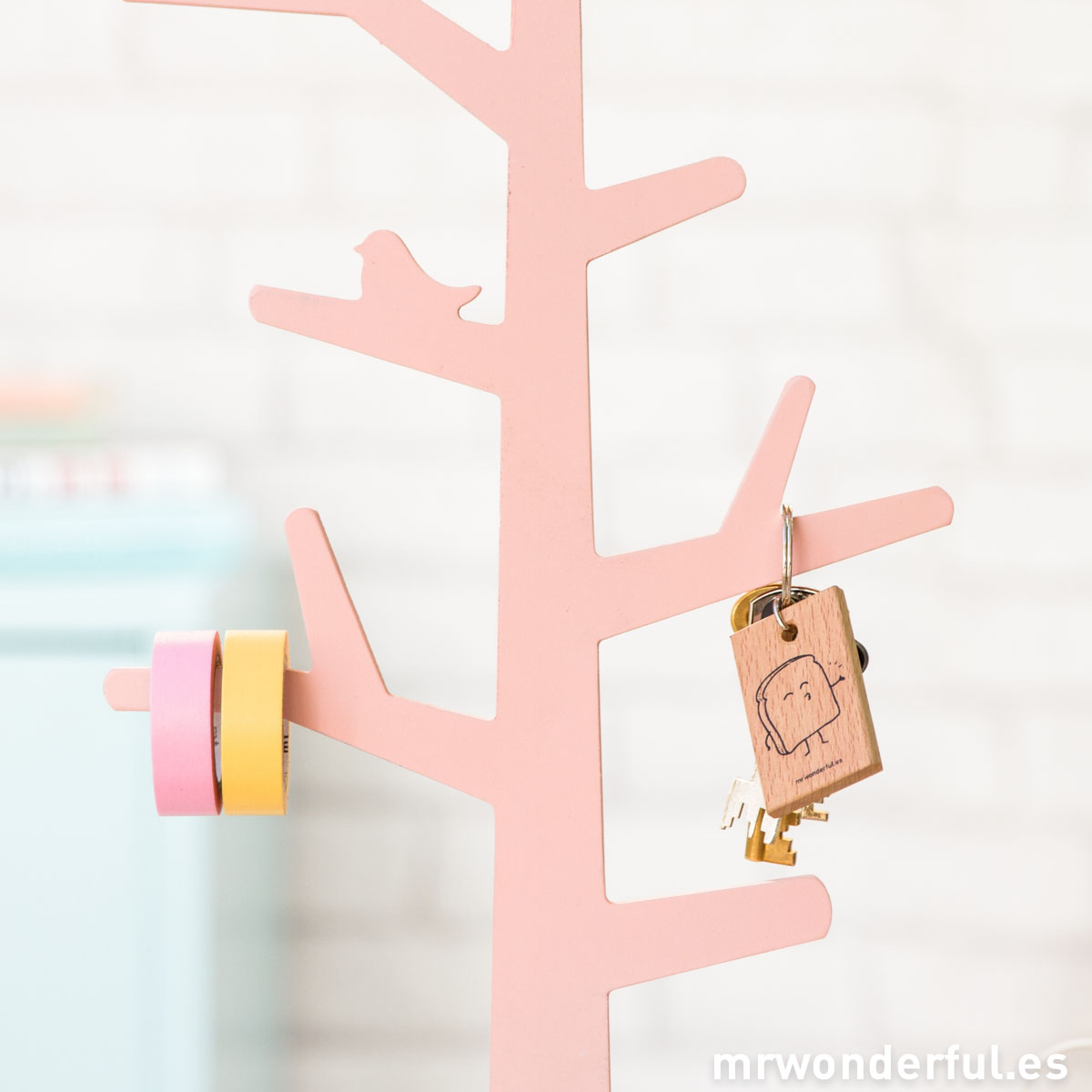 Mr.Wonderful árbol de madera rosa para decorar