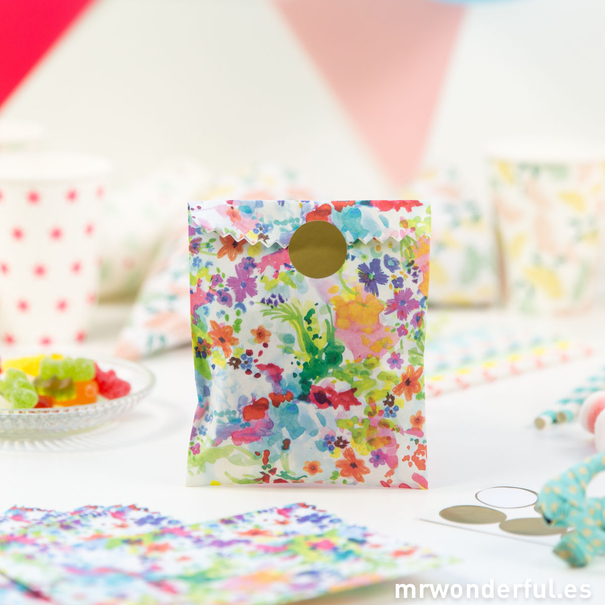 Mr.Wonderful bolsas de papel estampado floral