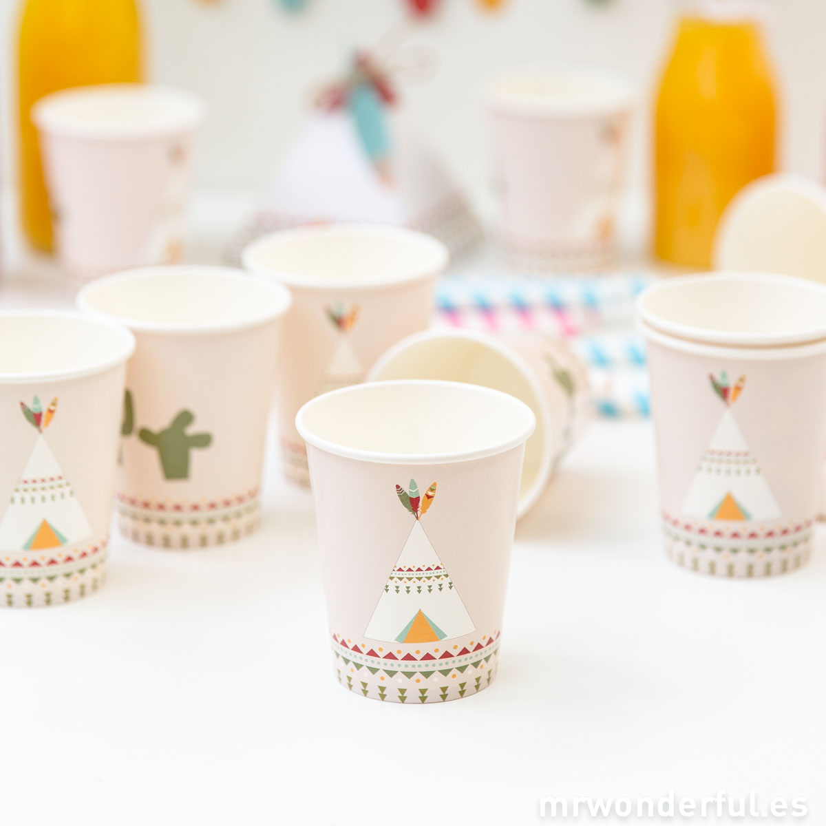 Mr.Wonderful set de vasos de papel con estampado fiesta india