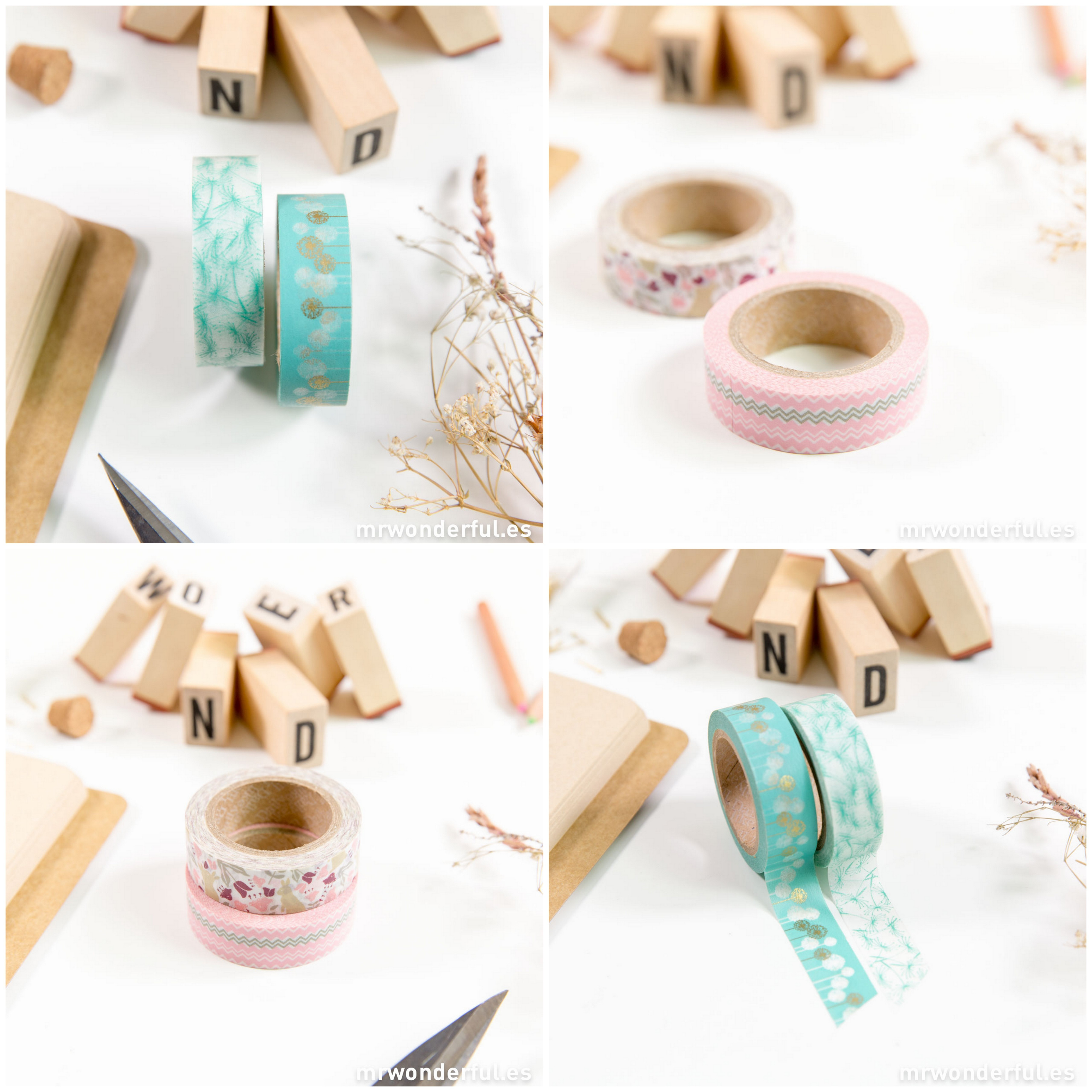 Mr.Wonderful washi tapes con diferentes diseños