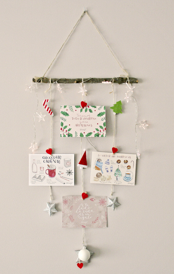 Alucina con este DIY, un móvil navideño hecho con las postales de regalo de la revista Mr. Wonderful Ideas #2