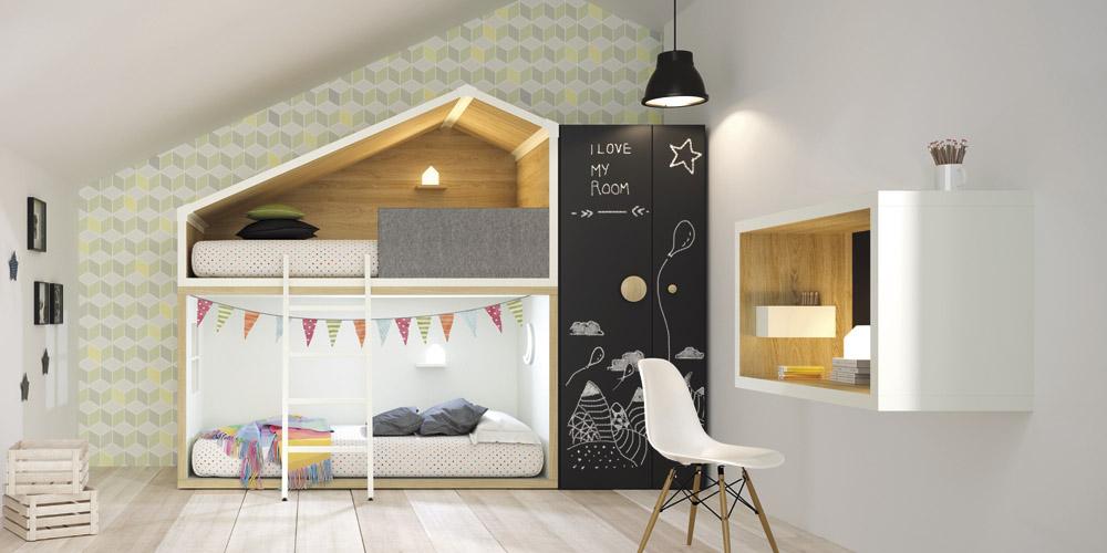 litera casita nordica blanca y madera minimoi