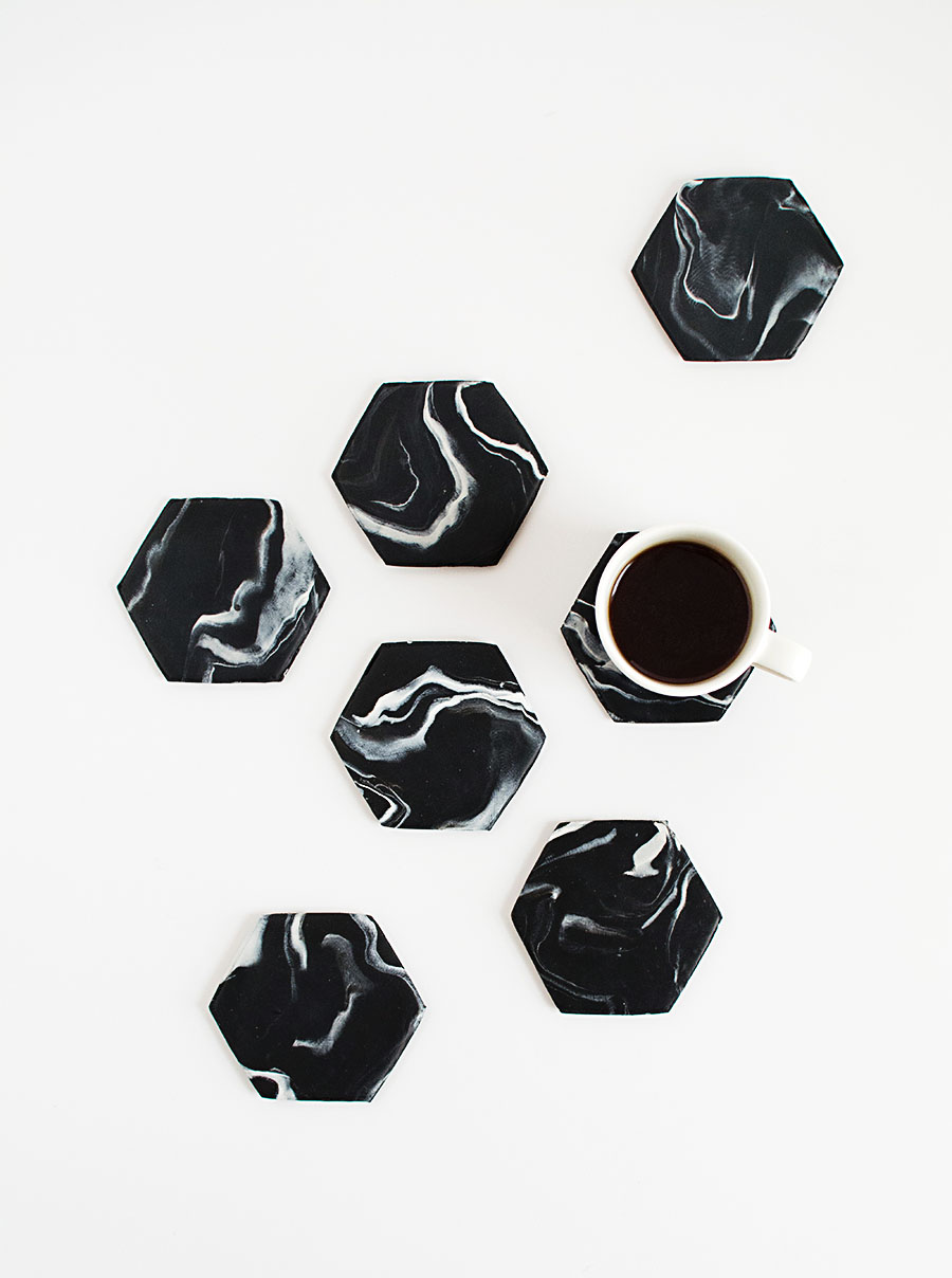 DIY-Black-Marble-Hexagon-Coasters