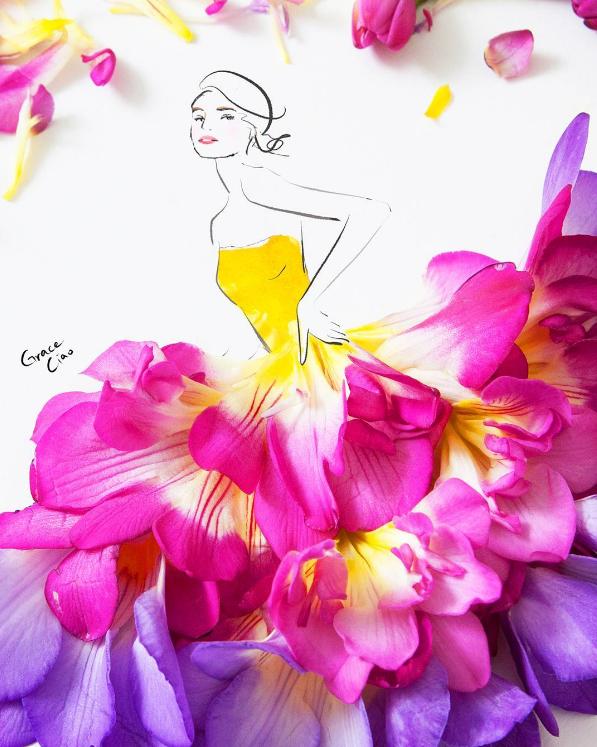 No sé qué ponerme ¿el vestido de rosas rojas o la falda de orquídeas amarillas?