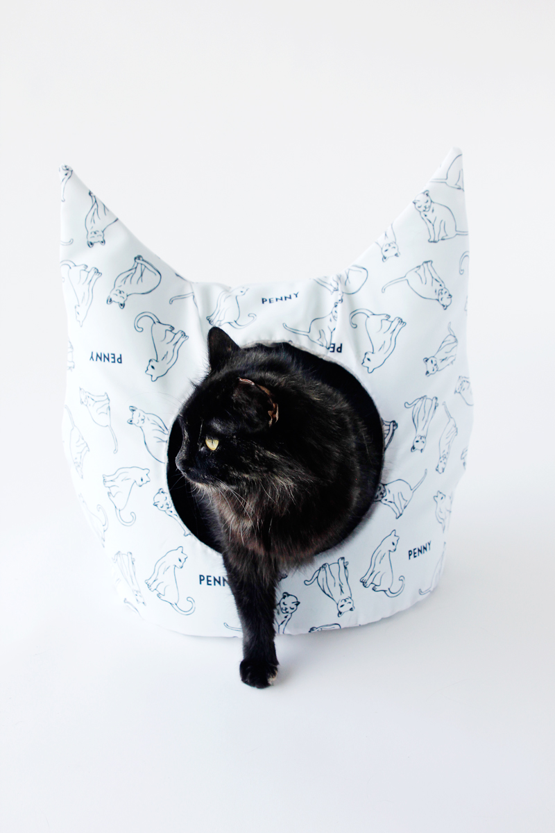 DIY-cat-bed-with-personalized-fabric