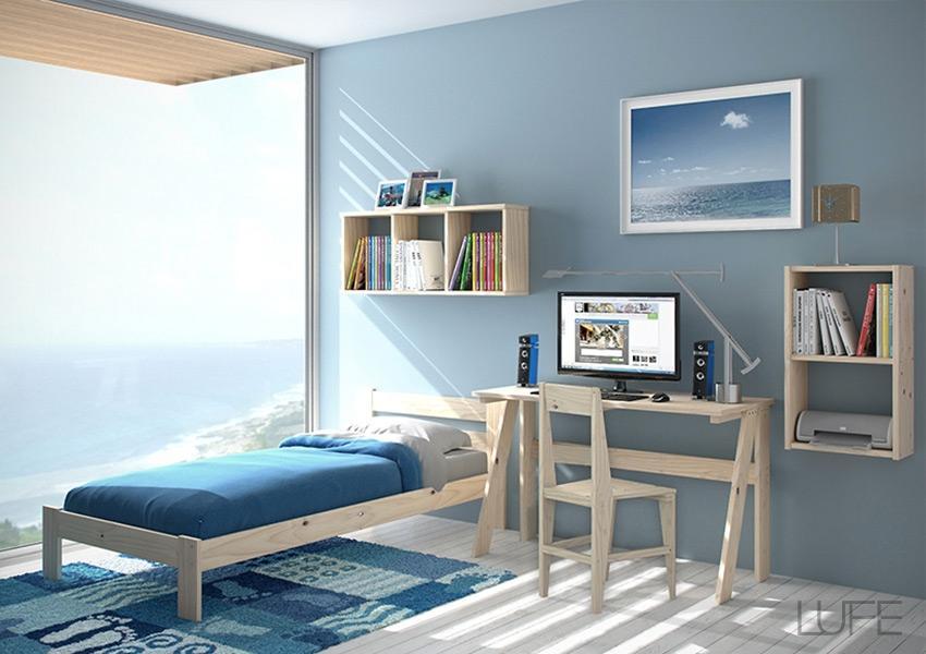 mesa-silla-y-cama-individual-con-lamas