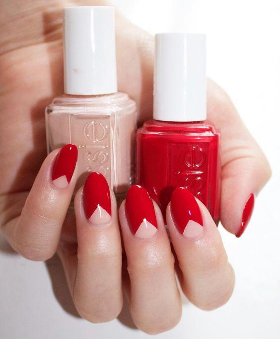 Ideias para pintar as unhas de vermelho e tom pastel