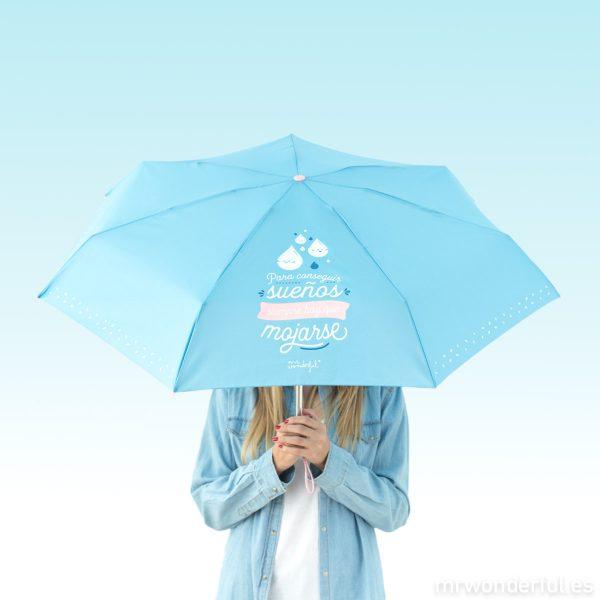 Paraguas pequeño azul plegable