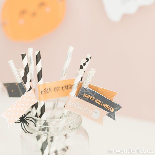 Banderines para cañitas de Halloween