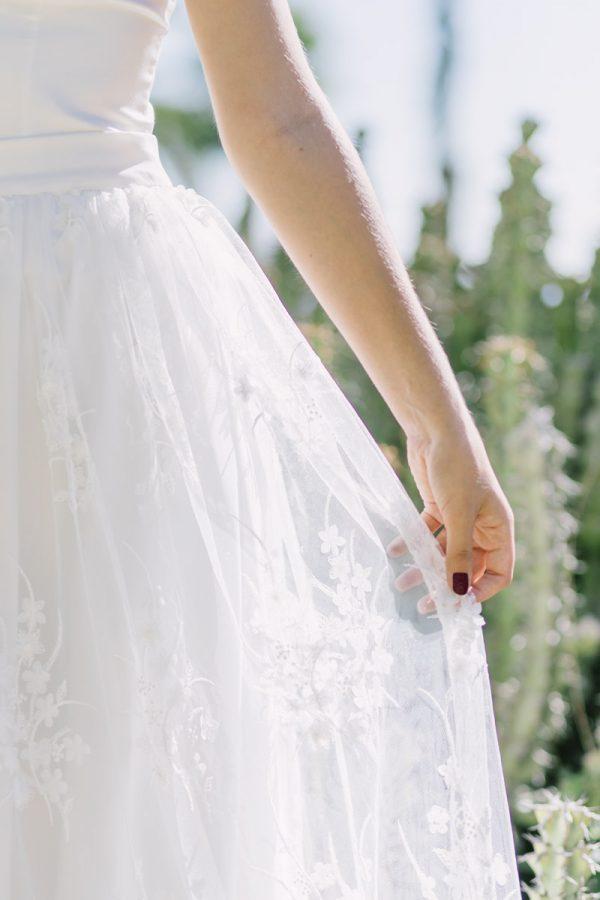 Bordados del vestido de novia de Paola Carolina