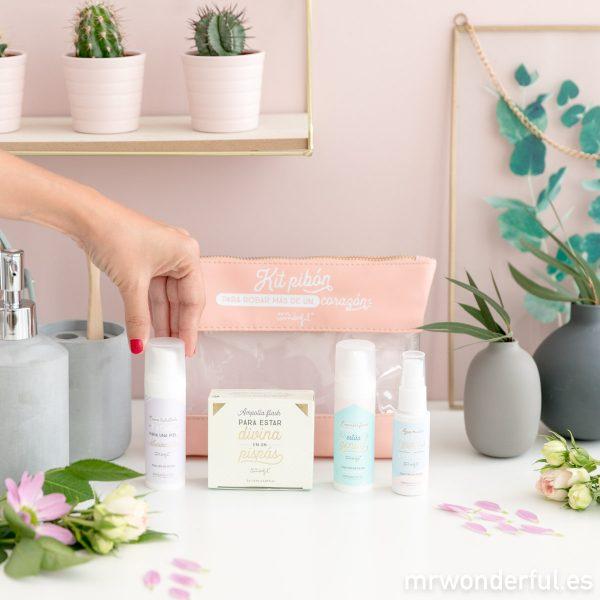 kit belleza Mr. Wonderful para el cuidado facial: agua micelar, gel limpiador facial, crema hidratante facial, ampolla flash