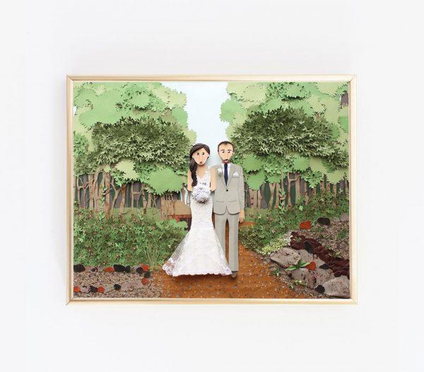 Retrato de boda de papel
