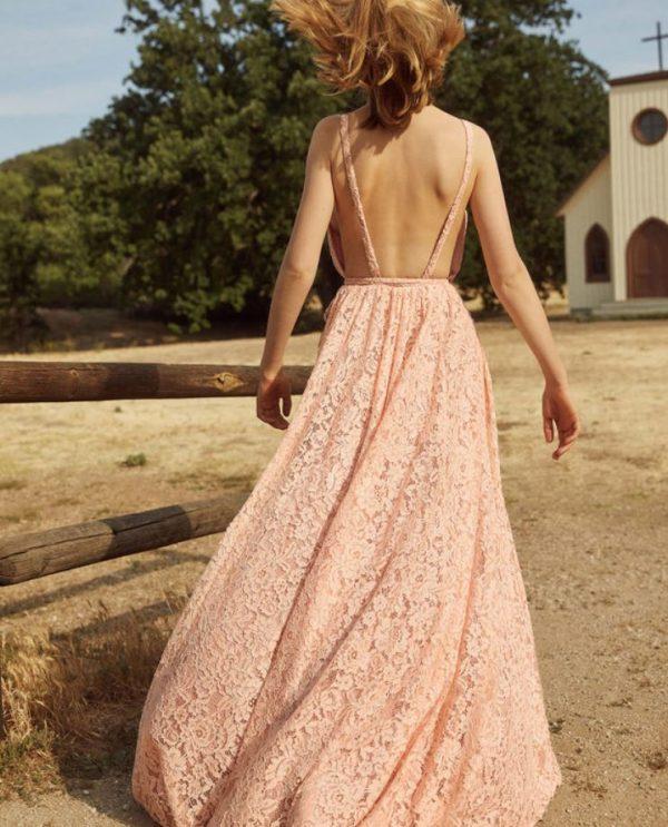 Vestido de novia rosa Reformation