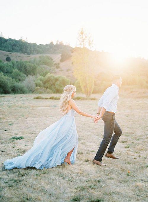Vestido de novia azul de tul