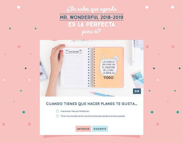 Test de las agendas de Mr. Wonderful
