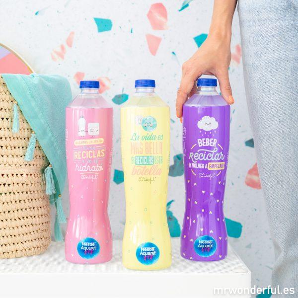 Botellas reciclables de Mr. Wonderful para Aquarel