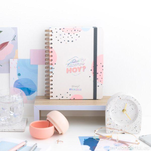 Agenda diaria escolar 2019 - 2020 Mr. Wonderful encuadernación con espiral cierre de goma elástica tinta holográfica pegatinas blocs de notas adhesivas