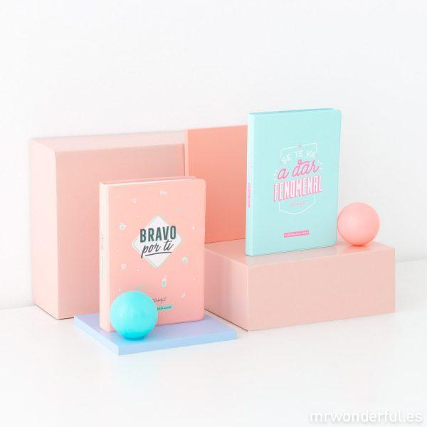 Agendas pequeñas escolares 2019 - 2020 Mr. Wonderful encuadernación cosida colores pastel mensajes positivos de bolsillo pegatinas