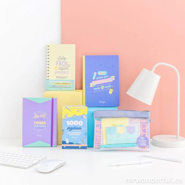 Extras para decorar animar personalizar y mejorar tu agenda Mr. Wonderful pegatinas notas adhesivas marcapáginas productividad