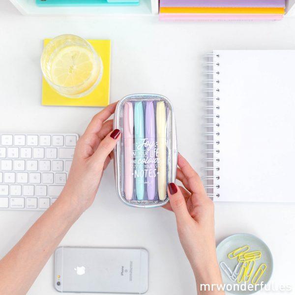 Subrayadores colores pastel estuche con mensaje