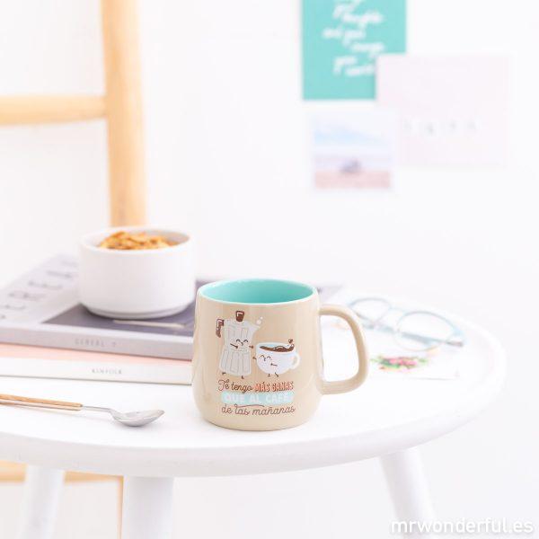 Tazas Mr. Wonderful mensajes amor amistad colores pastel regalo originales divertidas motivadoras café cafetera azul pareja