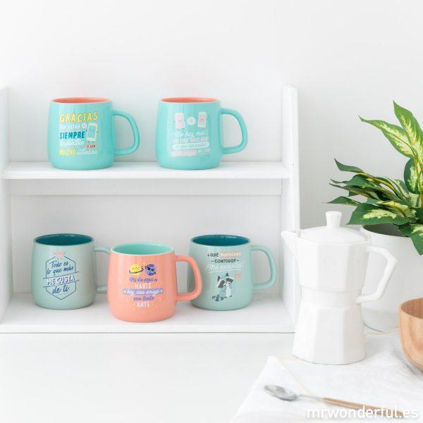 Tazas Mr. Wonderful mensajes amor amistad colores pastel regalo originales divertidas motivadoras