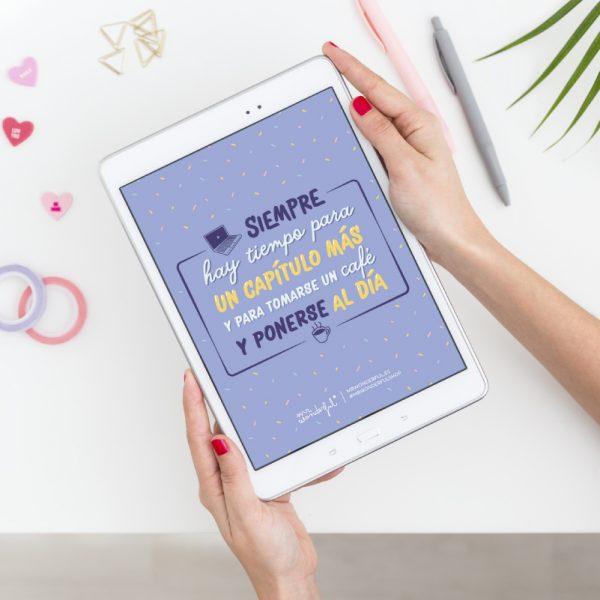 Tablet con uno de los fondos de pantalla chulos y con mensaje más originales
