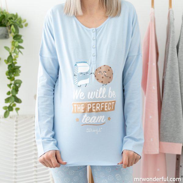 Pijama azul de invierno de la nueva colección de pijamas premamá y ropa de bebé de Mr. Wonderful para Prénatal