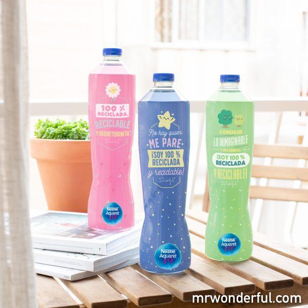 Nuevas botellas Aquarel by Mr. Wonderful 100 % recicladas y reciclables.