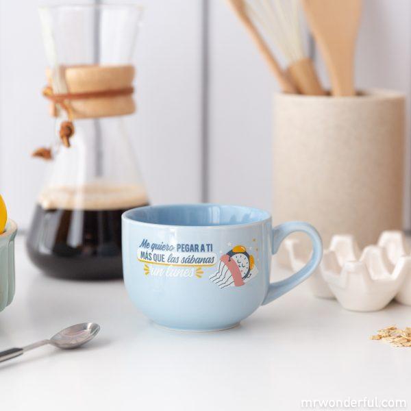 Taza Mr. Wonderful para desayuno con mensaje de amor