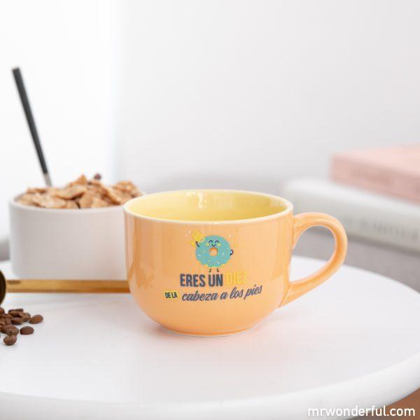 Taza Mr. Wonderful para desayuno con mensaje motivacional