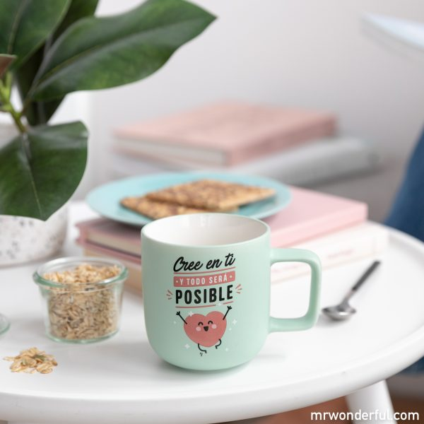 Taza Mr. Wonderful con mensaje motivacional para creer en ti