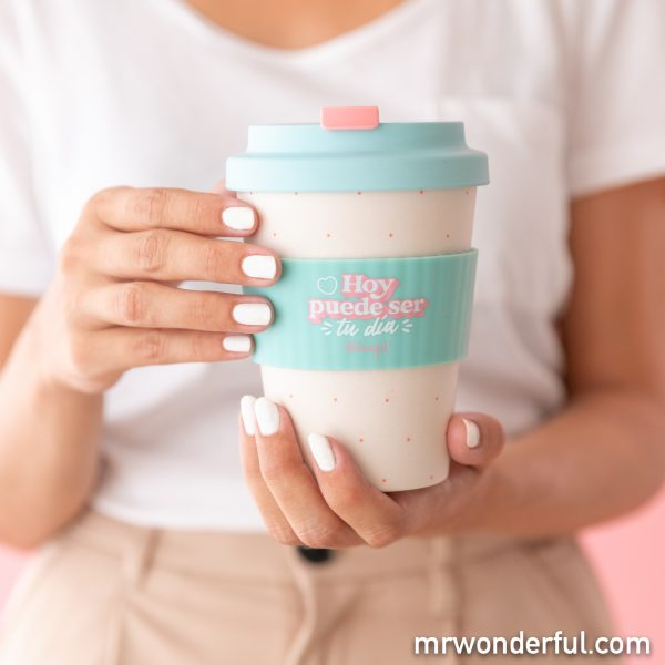Taza Mr. Wonderful take away hecha de bambú